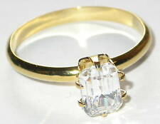 CZ SOLITAIRE RING Emerald-Cut 14K Gold Plated Clear Cubic Zirconia