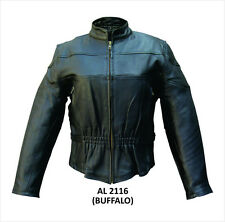 AL2116 Ladies Vented Black Leather Motorcycle Scooter Racer Jacket Zip Out Liner