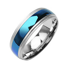 316L Stainless Steel Men's Blue Stripe Comfort Fit Ring Size 9-14