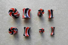 One Pair UV Acrylic Black & Red Candy Stripe Ear Plugs Gauges Tapers 0g-8g