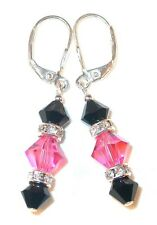 ROSE PINK & JET BLACK Crystal EARRINGS Sterling Silver Dangle Swarovski Elements