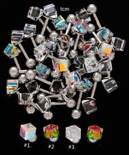 "1pc 16g 1/4"" PRISM CRYSTAL CUBE TRAGUS BARBELL EARRING"
