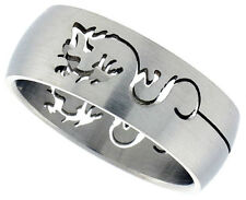 Cutout Dragon Design Steel Ring Sizes 8-13 Available
