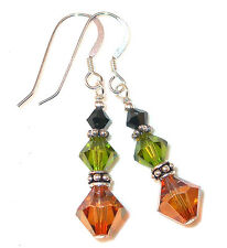 BLACK OLIVE COPPER Crystal Earrings Sterling Silver Dangle Swarovski Elements