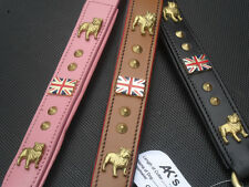 new british bull dog leather lead 3 x colours