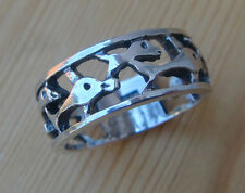 Dolphins Family Sterling Silver Ring Band SIZE 6 7 8 9 8mm .925 Silver Band