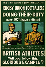 WA2 Vintage WWI British Rugby Football Athletes Recruitment Poster WW1 A1 A2 A3