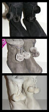 Girls Knitted Microsuede Pom Pom Boots Black Grey Off-White 10/11 12/13 1/2 3/4