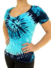 Ladies Deep V Neck Tie Dye Blue Spiral Fitted T Shirt