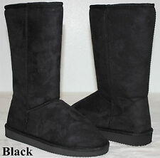 New Women's Comfort Boots Shoes Mid Calf Warm Black USA Seller Ship Fast