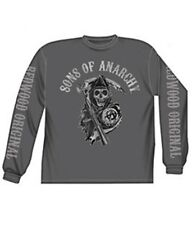 SONS OF ANARCHY REAPER TRIPLE PRINT CHARCOAL LONG SLEEVE T-SHIRT NEW !