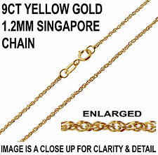"375 9CT YELLOW GOLD 16"" 18"" INCH FINE SINGAPORE TWISTED CURB LINK CHAIN NECKLACE"