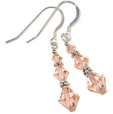 PEACH Crystal Earrings Bali Sterling Silver Dangle Swarovski Elements