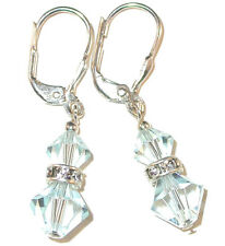 Very LIGHT AZORE BLUE Crystal Earrings Dangle Sterling Silver Swarovski Elements