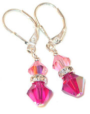 2-tone PINK Fuchsia Crystal Earrings Sterling Silver Dangle Swarovski Elements