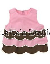NWT Gymboree Tea For Two Pink & Brown Scalloped Cake Top Shirt Size 5 or 7 New