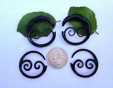 Pair Hand Carved BUFFALO HORN TRIBAL FLORAL VINE SWIRL SPIRALS TAPER PLUGS GAUGE