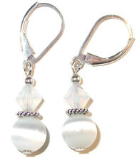 WHITE Crystal & Cats Eye Earrings Dangle Sterling Silver Swarovski Elements