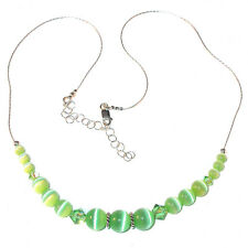 SWAROVSKI CRYSTAL Elements & CATSEYE Sterling Silver Necklace PERIDOT GREEN
