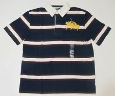 New with tag NWT Ralph Lauren Big Boys N Blue White SS Polo Shirt S M L Big Pony