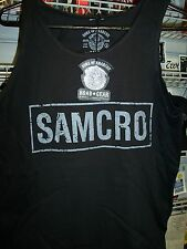 SONS OF ANARCHY SAMCRO BLACK TANK TOP 2 SIDED PRINT T-SHIRT NEW !