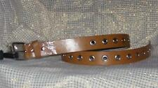 "Saddle BROWN TAN 1.25"" GROMMET Leather BELT Roller Bukl 28 30 32 34 36 38 40 42"