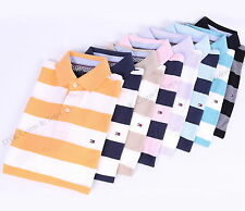 NEW TOMMY HILFIGER MEN'S WIDE STRIPE PIQUE MESH POLO SHIRT - FREE SHIPPING