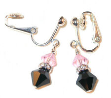 LIGHT ROSE PINK & JET BLACK Crystal Earrings Sterling Silver Swarovski Elements