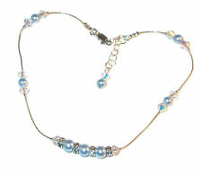 CLEAR AB Crystal & BLUE Pearl Anklet Sterling Silver Bridal Swarovski Elements