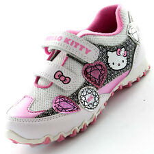 Girls SIZE 7 - 1 HELLO KITTY White Silver Velcro Trainers Shoes JEWEL