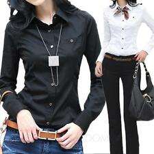 Black/White Ladies Blouse Vintage Top Work Womens Long Sleeve Office Shirt