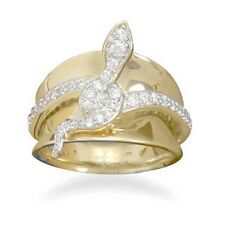 14 Karat Gold Plated and Sterling Silver CZ Snake Ring 925 Sterling Silver Wide