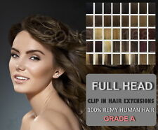 """Full Head 19"""" Clip in Remy Human Hair Extensions"""