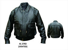 Mens Black Vented Leather Bomber Jacket w/ Zip Out Liner & Neck Warmer