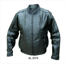 Mens Black Aniline Naked Leather Vented Bomber Biker Jacket Euro Collar.