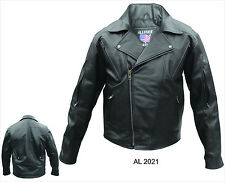 Mens Black Vented Leather Motorcycle Biker Jacket w/ Zip Out Liner