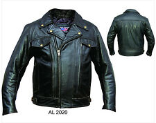 Mens Black Vented Leather Motorcycle Biker Jacket w/ Zip Out Lining