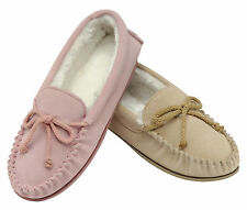 Ladies SIZE 3 - 7 Dunlop Pink Beige Leather Suede Moccasins Slippers Boxed NEW