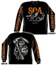 SONS OF ANARCHY CHARGING REAPER ORANGE PRINT BLACK LONG SLEEVE T-SHIRT NEW !