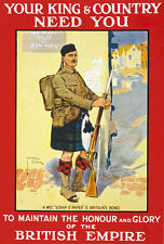 W83 Vintage WWI British Scottish King Country Needs You War Poster WW1 A1 A2 A3