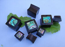 Pair Handcrafted ABALONE SHELL Sono Wood  Square Double Flared Ear Plugs Gauges
