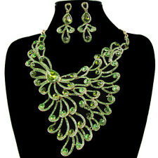 Peacock Style Wedding Bridal Party Lady Earring Necklace Jewelry Set Crystal