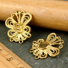 Solid Brass Butterfly Filigree Earing Connector jewelry pendant Charms be03 6pcs