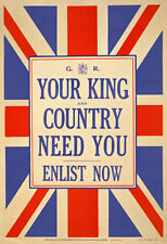 W80 Vintage WWI British King & Country Need You Enlist War Poster RePrint WW1 A4