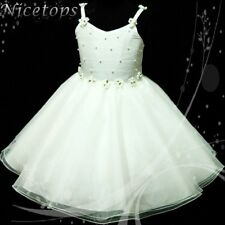 W875 Kid Girl Off White X'mas Party Flower Girls Dress Outfit SZ 2-3-4-5-6-7-8-9