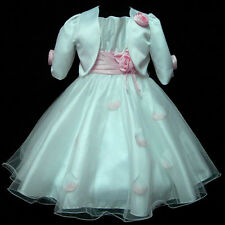 P05 NWT Girl Pink Bridal Flower Girls Dress + Cardigan Set SZ 2-3-4-5-6-7-8-9-10