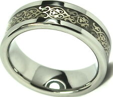 Tungsten Carbide Ring Wedding Band Fleur-de-Lis Inlay Titanium Color Design 8mm