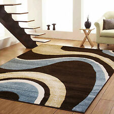 SMALL - EXTRA LARGE MODERN SWIRL CURL CARVED CHOC. BROWN BEIGE DUCK EGG BLUE RUG