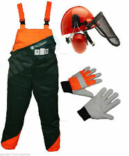 Chainsaw Safety Clothing Protection Bib Brace Trousers Gloves Helmet Kit