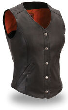 Womens Ladies Black Longer Biker Motorcycle Vest Sexy